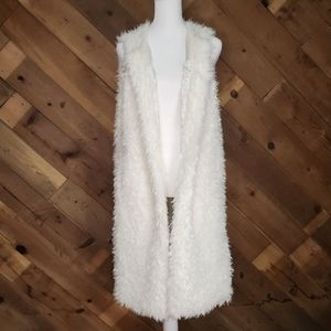 Double Zero Long Faux Fur Vest Off White w/Pockets